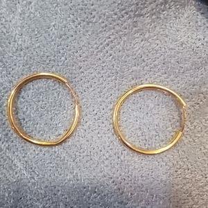 """14k Gold 0.75"""" Delicate Hoop Earrings"""